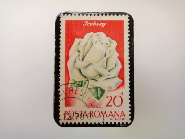 ルーマニア 薔薇切手ブローチ2164