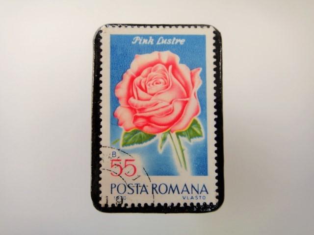 ルーマニア 薔薇切手ブローチ2166