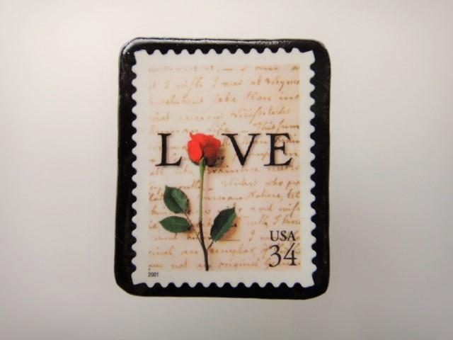 アメリカ バレンタイン切手ブローチ2168