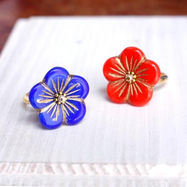 チェコガラスの梅の花リング【お好きな色をお選びください】