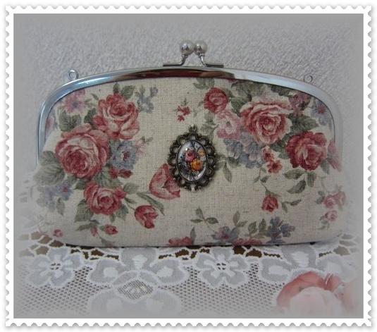 親子がま口長財布★お財布バッグ 赤い薔薇