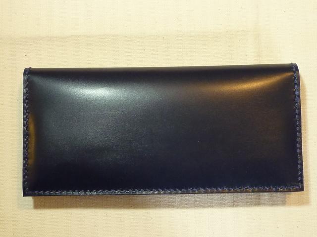 ハンドメイド『濃紺の革の長財布』