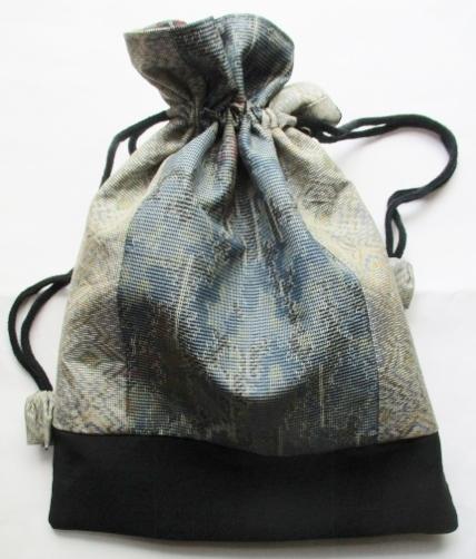 着物リメイク 色大島紬で作った巾着袋...