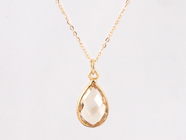 14KGF Champagne Quartz Frame Necklace