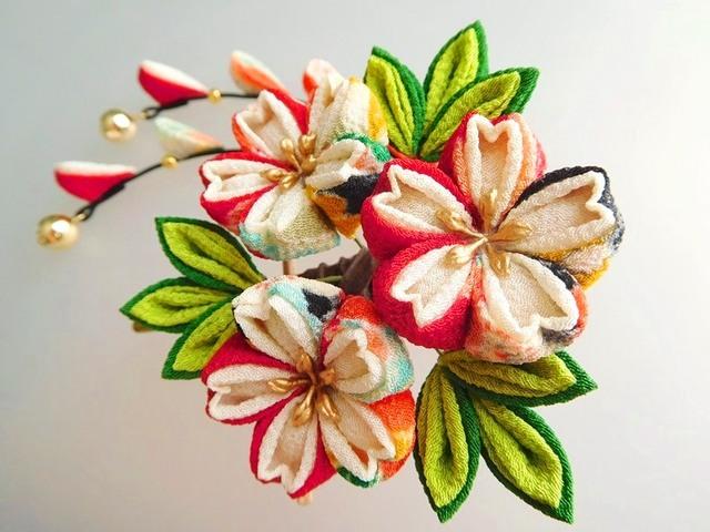 カラフル花柄×クリーム色 桜のくちばし...