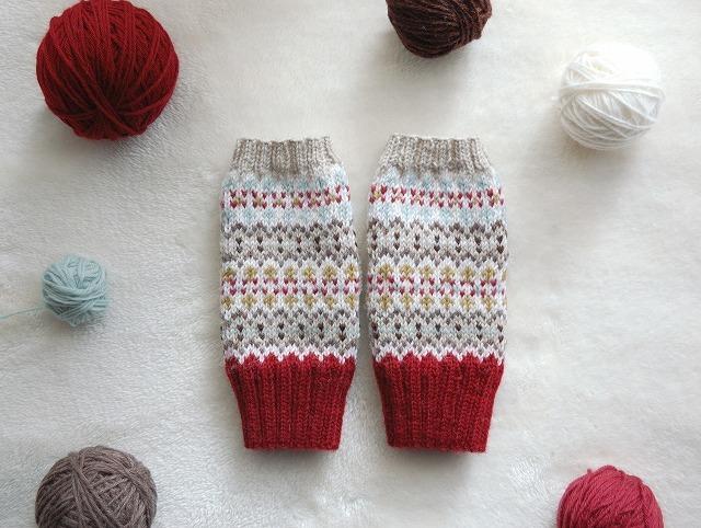 手編みの指なしミトン  【Red Mix】