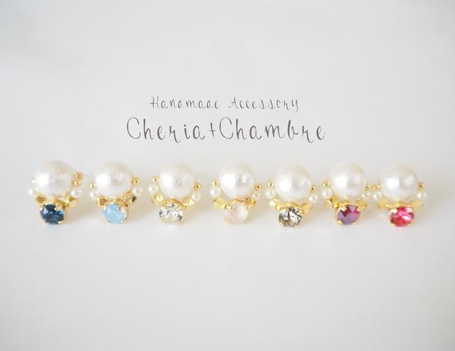 Cotton Pearl×Swarovski Earring