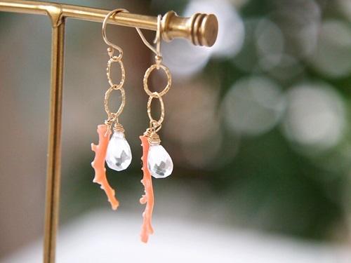 (14kgf)枝珊瑚と水晶のピアス[kgf0150]