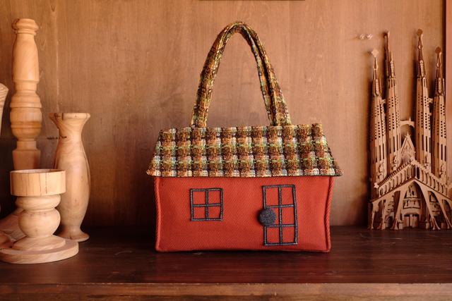 OUCHI box bag L  ウールチェック屋根
