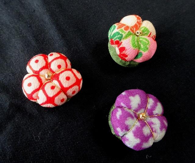 古布 お花のマグネット 3個セット no17