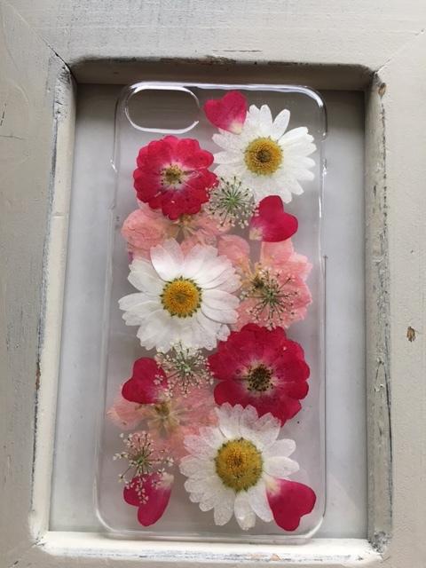iphone7/6/6S  赤い薔薇の押し花のケース