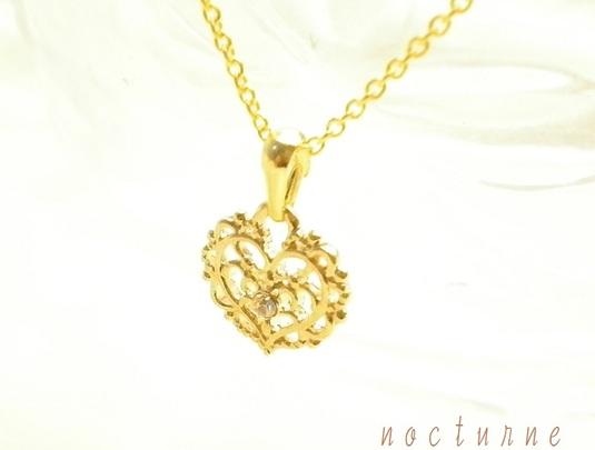 14kgf〜ロマンティックハートのネックレス