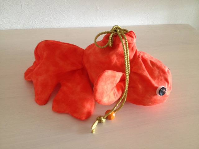 金魚の巾着(朱色)