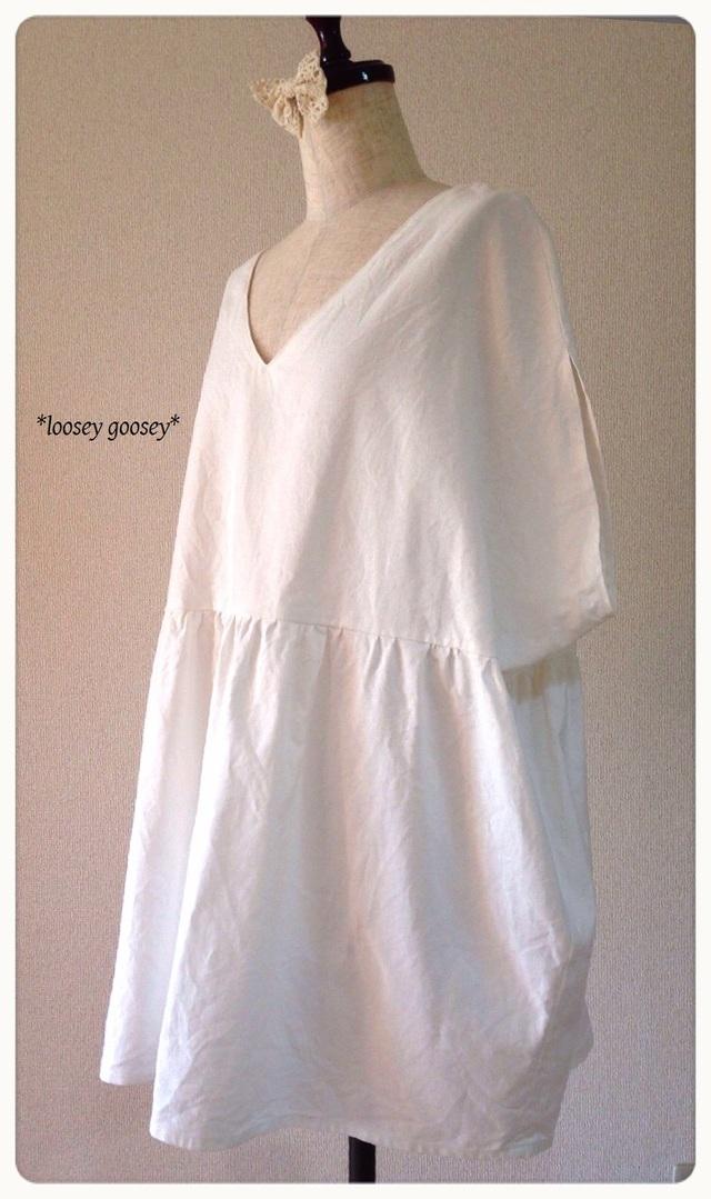 ナチュラルホワイトのチュニックワンピース/ドルマン袖大きいサイズ