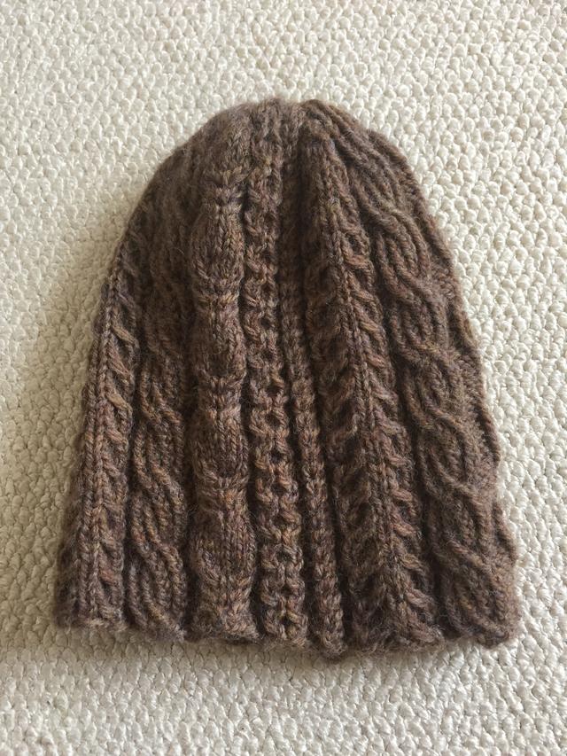 ケーブルニット帽ブラウン