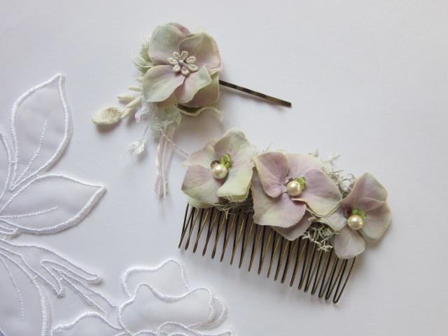 紫陽花のヘアコームとヘアピンセット