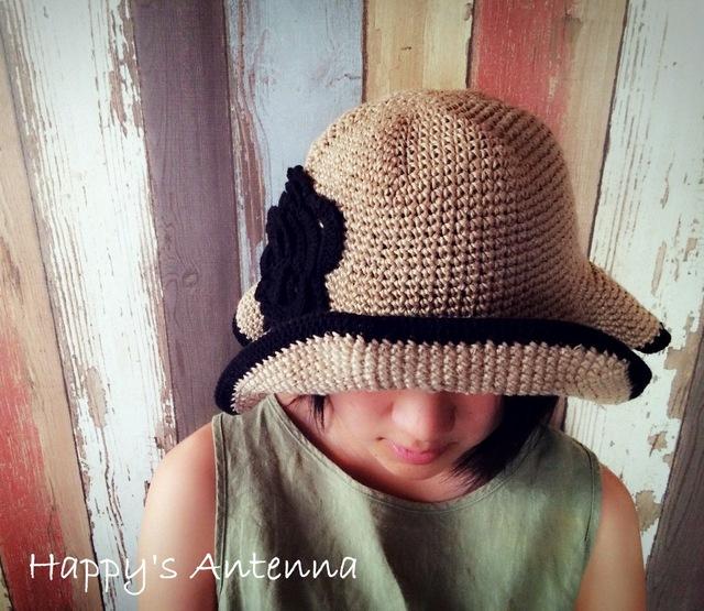麻 手編みお花帽子