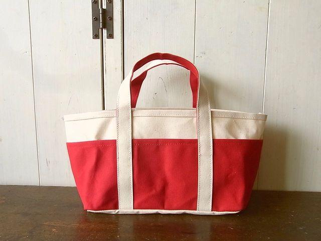【再販なし】パラフィン帆布のポケットいっぱいトートバッグ 赤x生成り