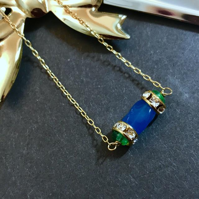 【n-1】碧瑠璃のチェコ硝子ネックレス