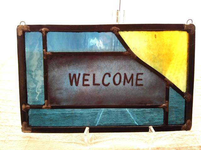 ステンドグラス welcomeボード 青系