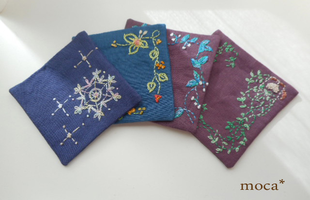 リネン刺繍コースター/シック系
