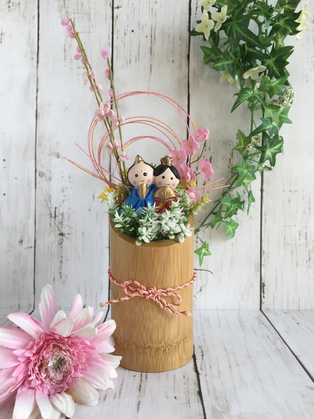 竹筒の雛飾り