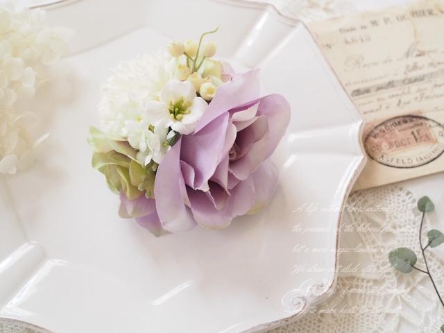 ローズのプチコサージュ  *purple*