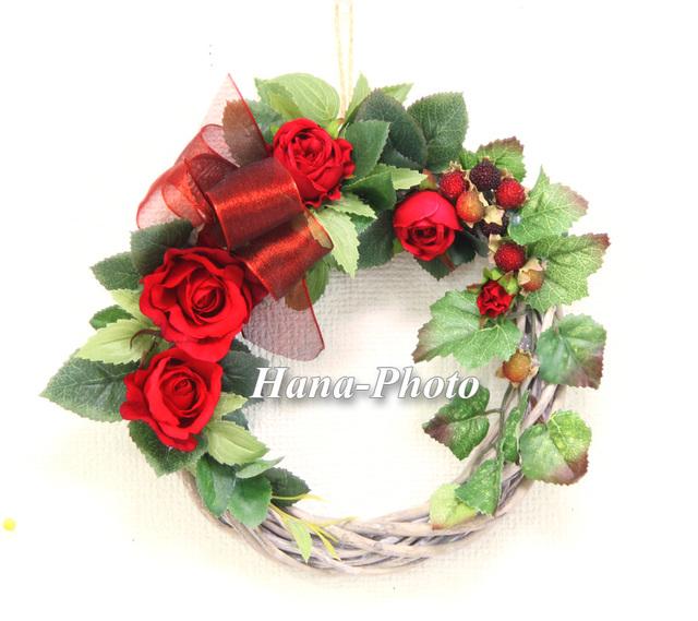43)大人の深紅のバラ・リース