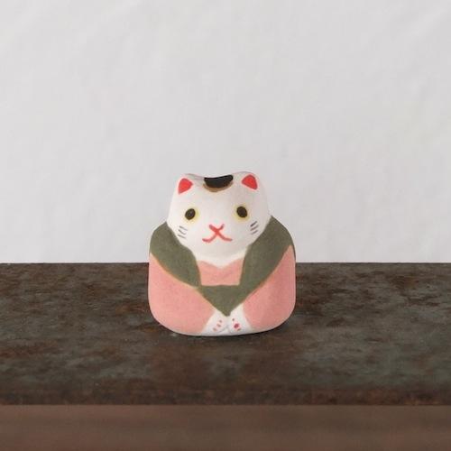 福猫のフェーブ(草色×桃)