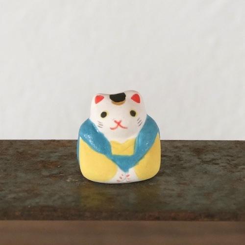 福猫のフェーブ(水色×黄)