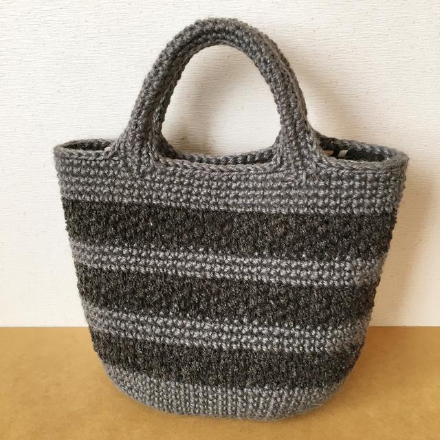 模様編みボーダーの麻ひもかごバッグ☆...