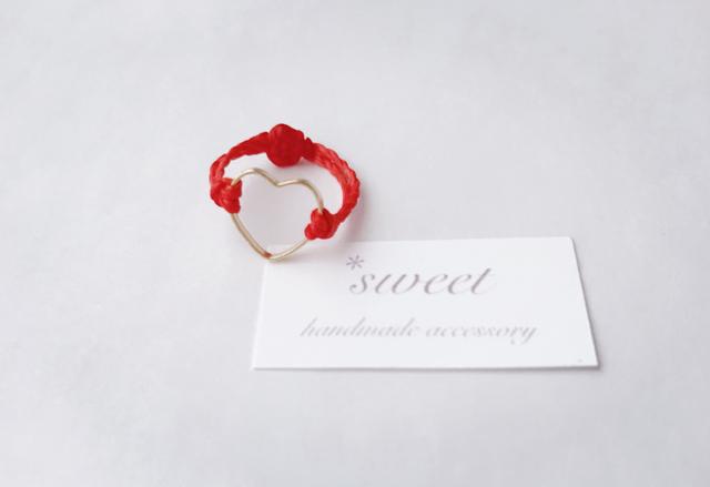 【red ring*】ハートのコードリング/ゴ...