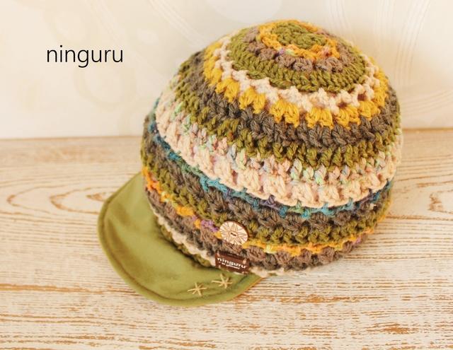 手編みのふんわりニット帽子☆彡抹茶×...