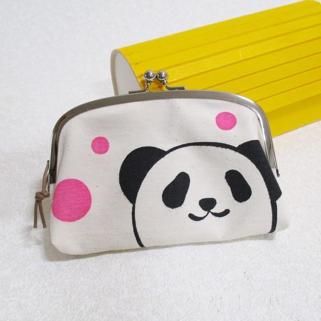 パンダ柄がまぐち pink