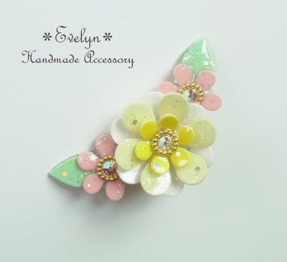 【再販】3連花のイヤーカフ:イエロー