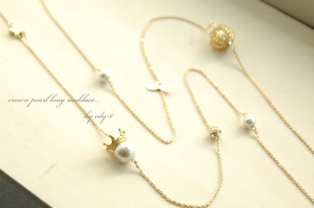 crown pearl long necklace