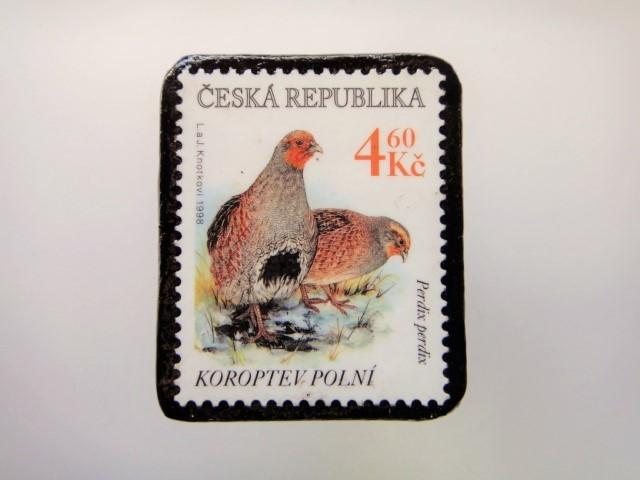 チェコ 切手ブローチ 2185
