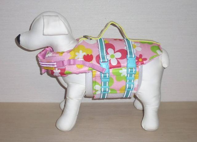 小型犬(SS)のライフジャケット・ピンク花柄A (2)