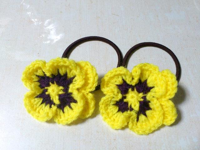 パンジーキイロお花のヘアーゴム2個セット