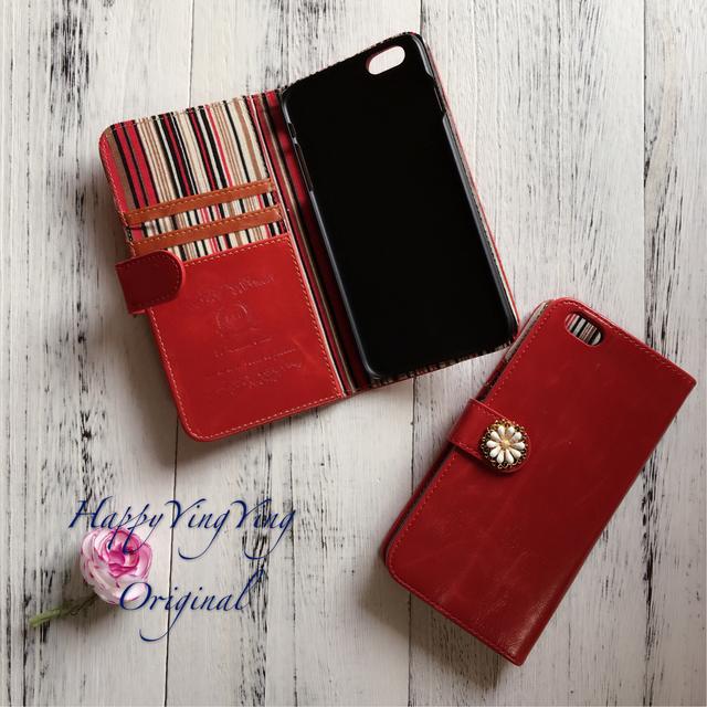 左利き【iphone6plus/6Splus】レザー手帳型赤色 アンティ
