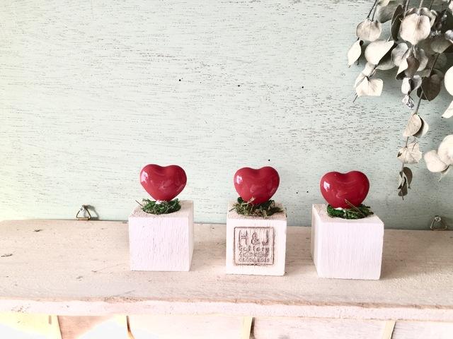 小さな植木鉢*ハート3個セット
