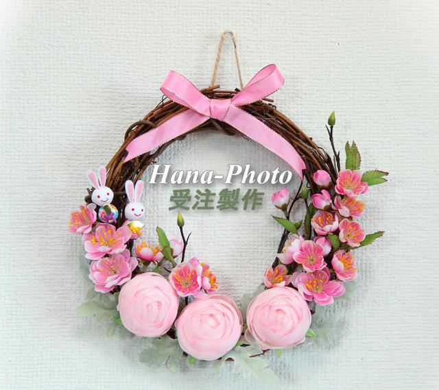 042)ピンクの雛祭りリース  受注制作
