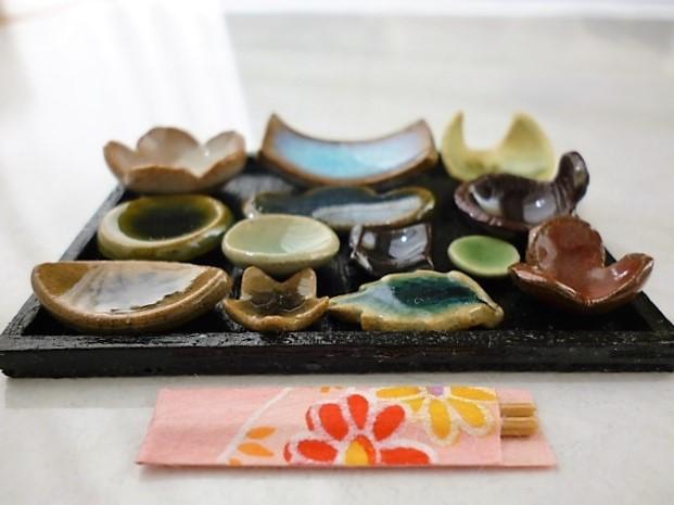 ミニチュア陶器☆会席膳 和食の器 月白
