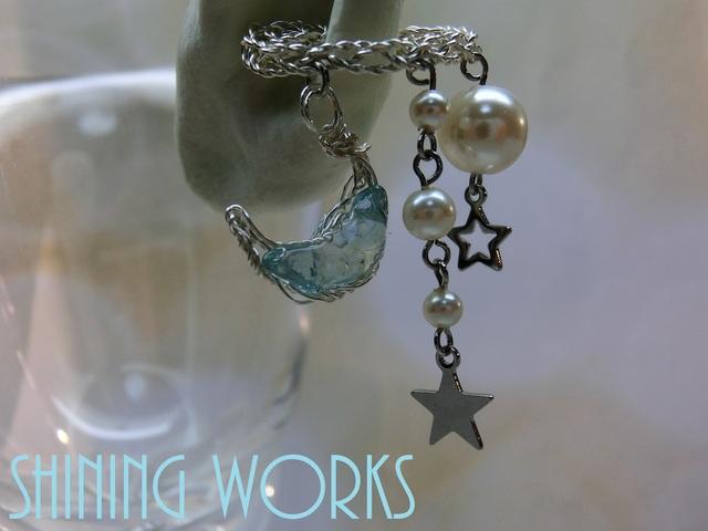 月と星イヤーカフ 天然石アパタイト 片耳用