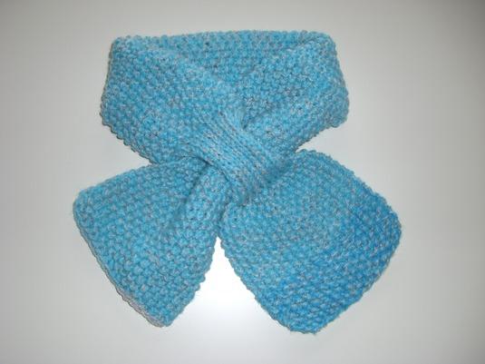 ポコポコかのこ編みプチマフラー(ブルー×ブルー)