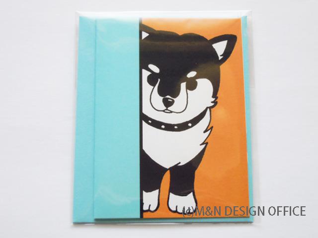 オリジナルイラスト「柴犬の隠れ家」ミニカード/封筒水色