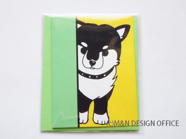 オリジナルイラスト「柴犬の隠れ家」ミニカード/封筒黄緑