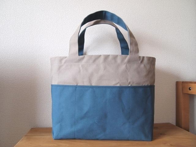 「bicolor tote M」 Gray × Blue gray