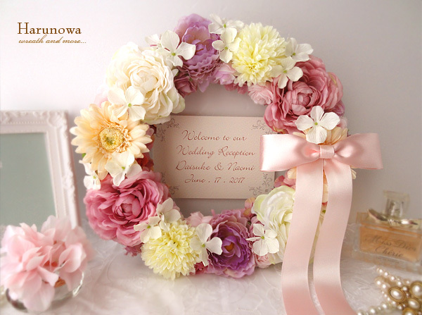 結婚式後も使える♪お花とリボンのウェディングウェルカムリース ♡musique douce♡ / ウェルカムボード