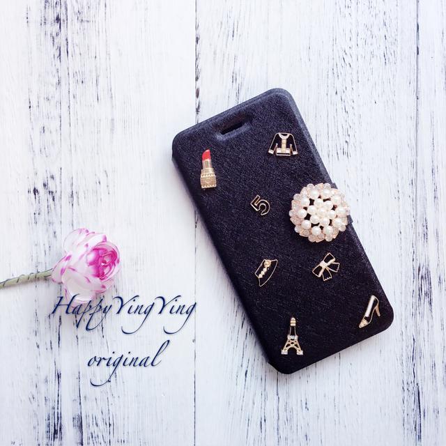 iphone6ケース S7edge アンドロイド手帳型[大ビジュー+ミニチュア]